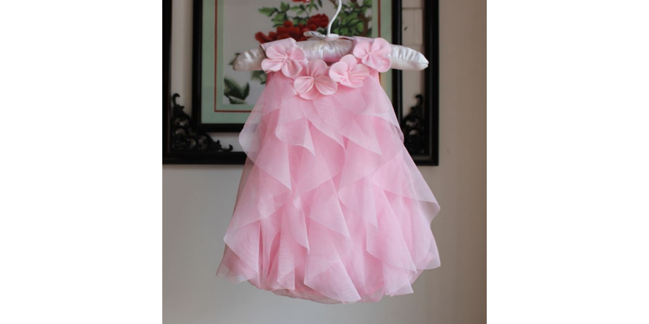 Baby Girl Dress Summer Baby Bodysuits Pink Flowers Chiffon Princess