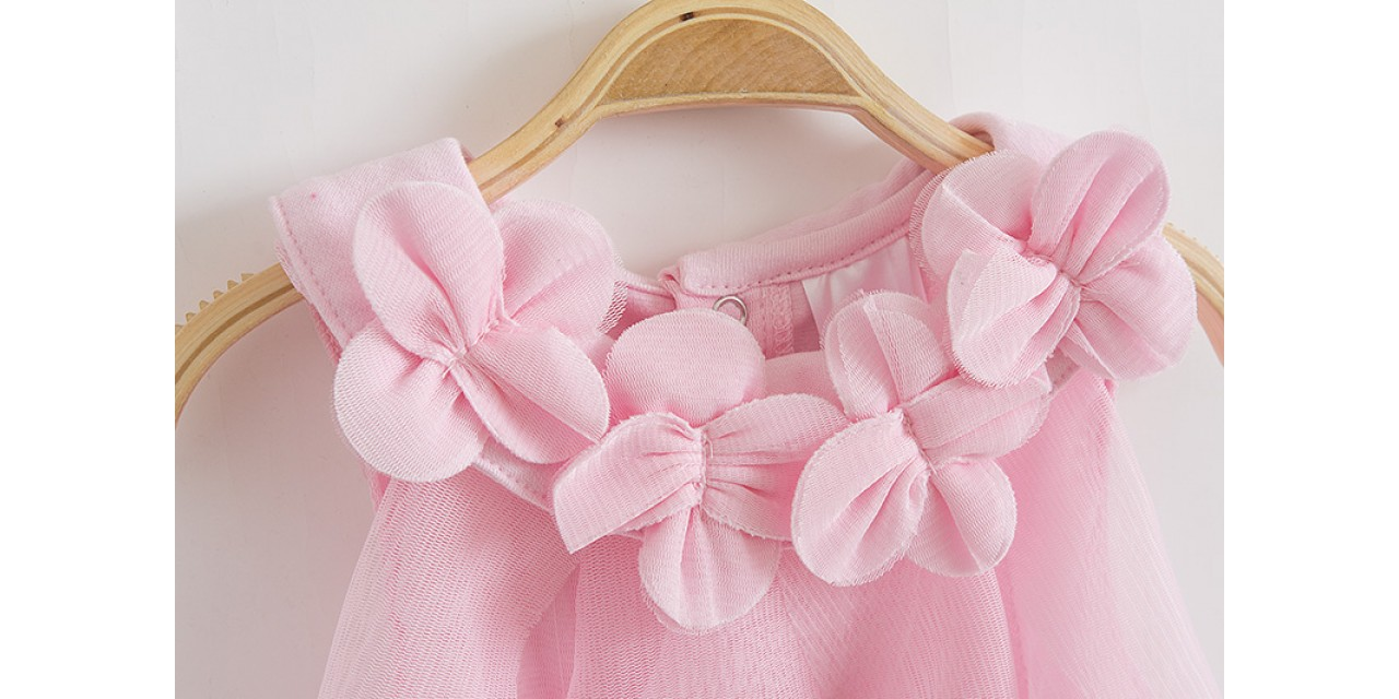 Baby Girl Dress Summer Baby Bodysuits Pink Flowers Chiffon Princess Clothes  Newborn Birthday Party Dresses Sleeveless Clothing 64ab183b2d3