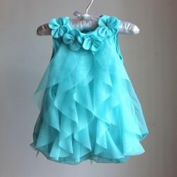 Baby Girl Dress Summer Baby Bodysuits Pink Flowers Chiffon Princess Clothes Newborn Birthday Party Dresses Sleeveless Clothing