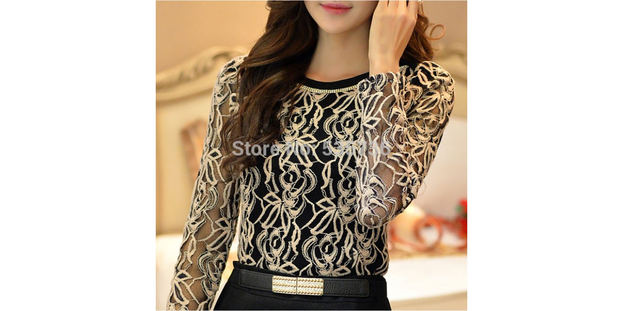 76adf7aa1ae New 2015 Fashion Plus Size Long Sleeve Crochet Black And White Body Lace  Chiffon Blouse Women Elegant Vintage Female Shirt 65A5