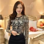 New 2015 Fashion Plus Size Long Sleeve Crochet Black And White Body Lace Chiffon Blouse Women Elegant Vintage Female Shirt  65A5