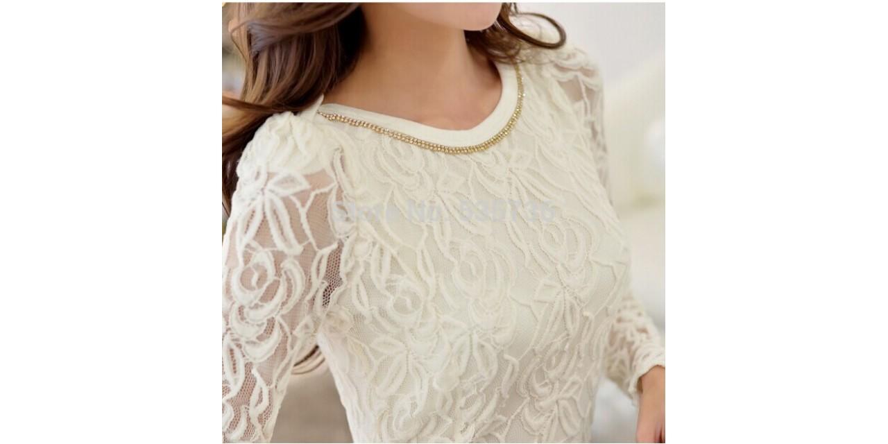 11ddd548349 New 2015 Fashion Plus Size Long Sleeve Crochet Black And White Body Lace  Chiffon Blouse Women Elegant Vintage ...
