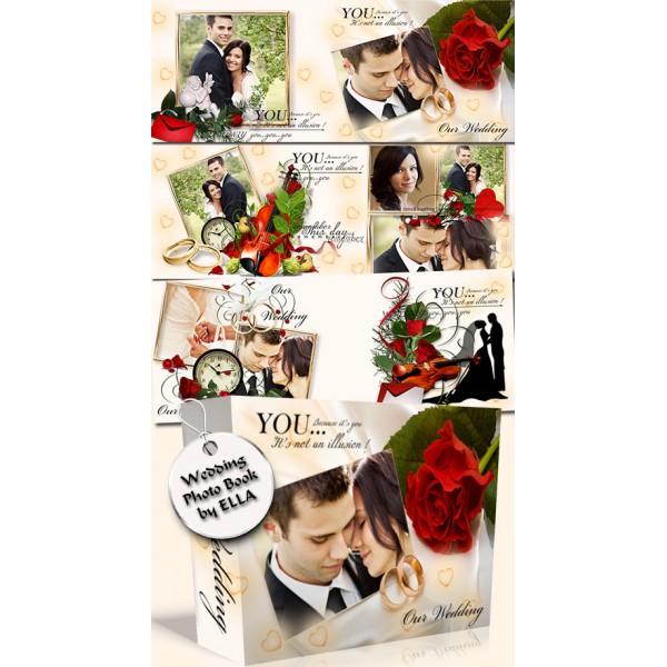 Roses and Ring Wedding Photo Album