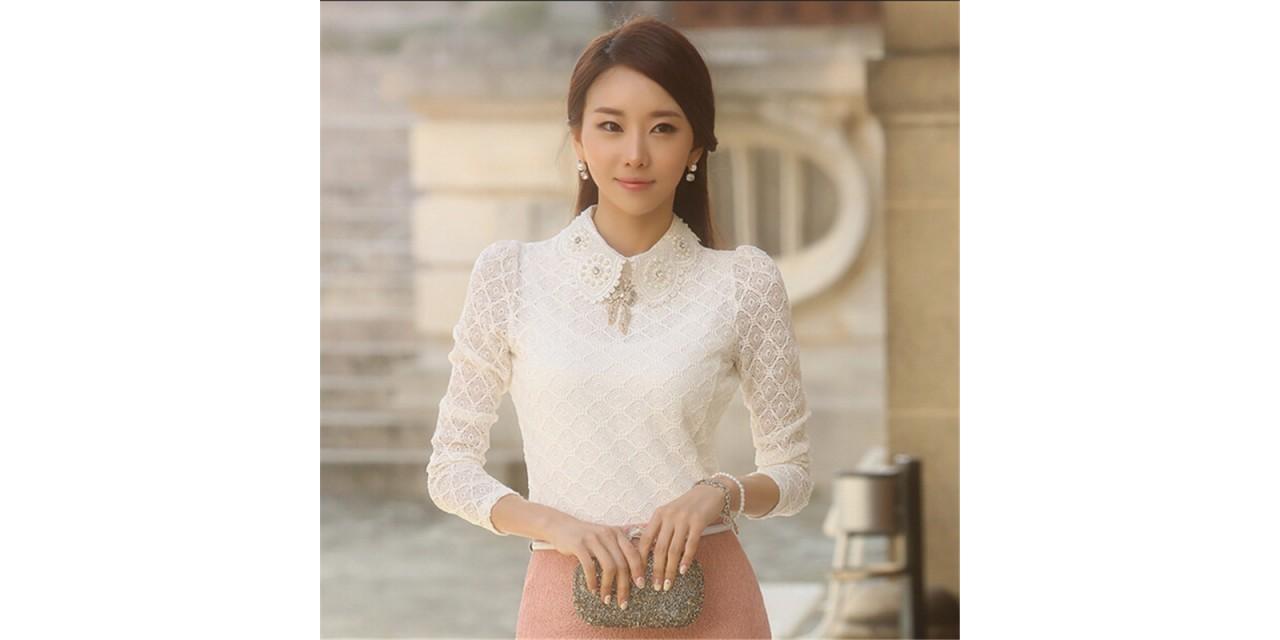 5dfdbe682d06 YEYELANA Women Lace Blouses 2018 Spring Summer New Elegant Femininas Long  Sleeve chiffon Blouse Korean Style ...