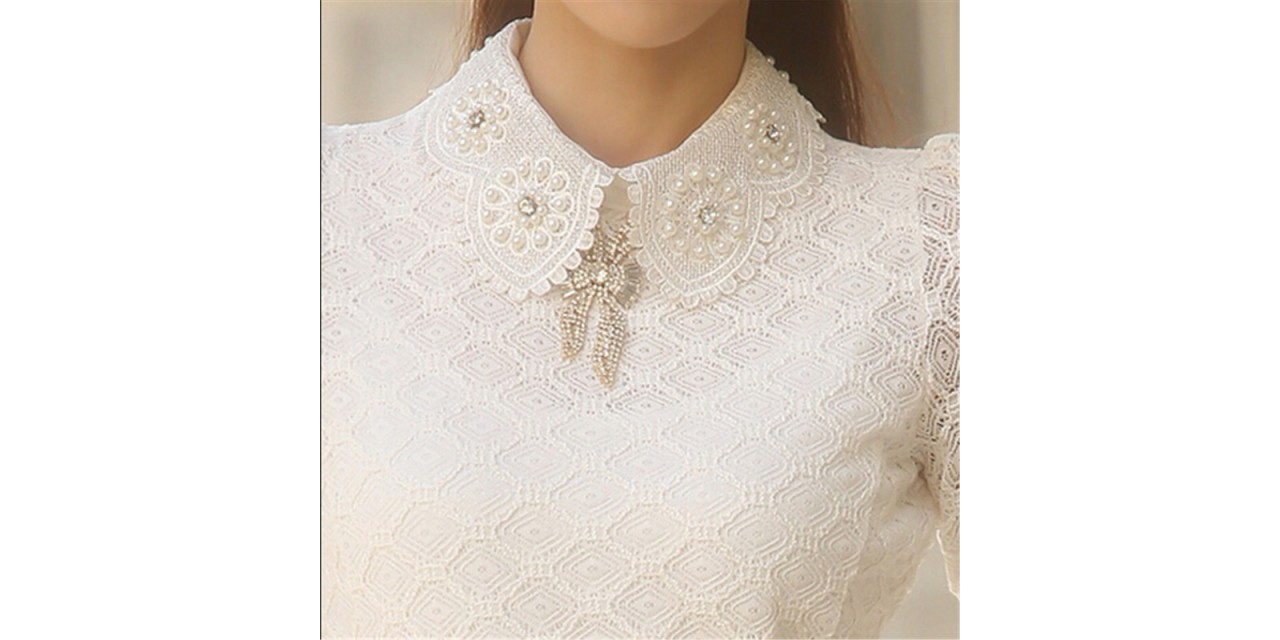 856c68d0db7fd0 YEYELANA Women Lace Blouses 2018 Spring Summer New Elegant Femininas Long  Sleeve chiffon Blouse Korean Style ...
