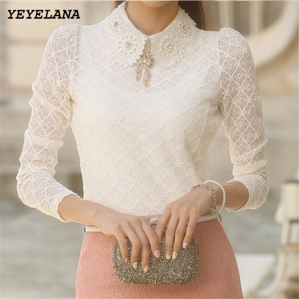 YEYELANA Women Lace Blouses 2018 Spring Summer New Elegant Femininas Long Sleeve chiffon Blouse Korean Style Women Shirt A001