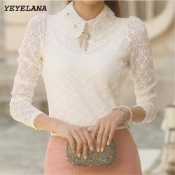 YEYELANA Women Lace Blouses 2018 Spring Summer New Elegant Femininas Long Sleeve chiffon Blouse Korean Style Women Shirt A001